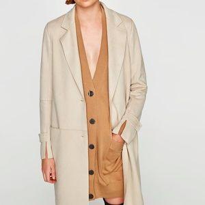 Zara Faux Suede Coat Long Jacket